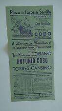1951 Cartel Plaza de Toros Sevilla Antonio Cobo Coriano Torres Cansino Corrida