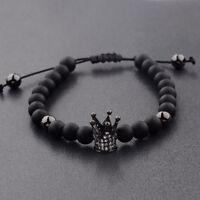 2018 Men Cubic Zircon 24kt Black Plated Crown Bracelet Bead Macrame Bracelets