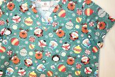 WHITE CROSS Womens Scrubs Top Christmas Holiday Santa Reindeer Snowman L Candy