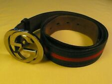 GUCCI MONOGRAM BELT GREEN AND RED CANVAS ON LEATHER, 90cm, 36 inches