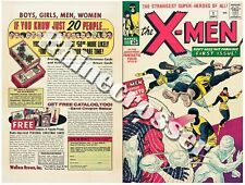 X-Men #1 Beautiful Repro Cover Only Orig Ads Uncanny Key 1st App Prof X Magneto