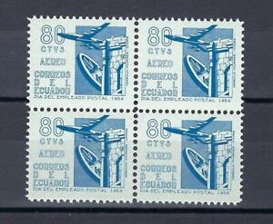 Ecuador 1954 Sc# C263 set Airmail Postal employee day Plane Gate block 4 MNH