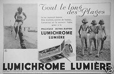 PUBLICITÉ 1933 PELLICULE ULTRA-RAPIDE LUMICHROME LUMIÈRE - LE LONG DES PLAGES