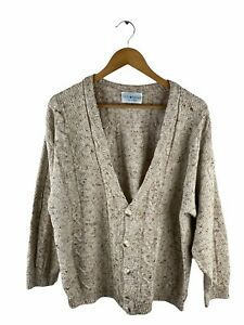 VINTAGE Colorado Cable Knit Cardigan Mens Size 48 Beige Button Up Made in Italy