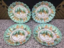 (4) UNUSED 1950s Christmas Reindeer Plastic Stackable Party Plates Vintage