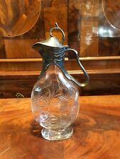 Vidrio Jugendstil garrafa/estaño plateado/mundgeblasen + pulidas para 1910