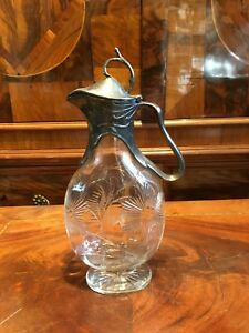 Jugendstil Glas Karaffe/ Zinn versilbert/ Mundgeblasen + geschliffen um 1910