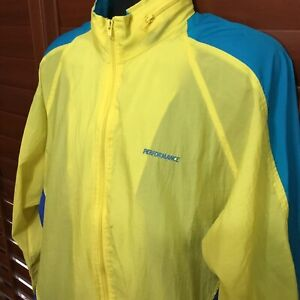 Vintage Cycling Wear Performance Yellow Multi-Color Cycling Windbreaker size XL