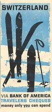 1959 American Express Travelers Cheques Switzerland Skiing  PRINT AD