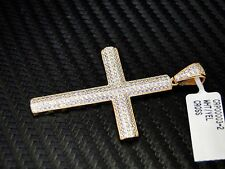 Yellow Sterling Silver 925 Fancy White C.Z Cubics Zirconia Cross Pendant Charm