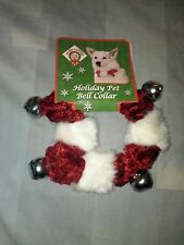 PLUSH PUPPIES RED AND WHITE CHRISTMAS HOLIDAY PET COLLAR WITH SILVER BELL MEDIUM