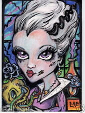 Aceo PRINT halloween Frankenstein big eyes zombie girl #29 art Liquid Acid Eyes