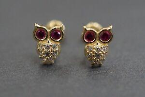 14K Solid Yellow Gold Owl Ruby Red Eyes CZ Children Women Screw Back Earrings.