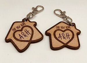 SET OF 2 x PERSONALISED CHERRY WOODEN KEYRINGS OUR NEW HOME HOUSE WARMING GIFT