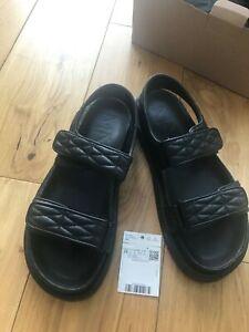 Mango black quilted vegan leather sandals