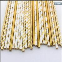 25Pcs Gold Stripe Star Paper Retro Vintage Party Drinking Straws Birthda Wedding