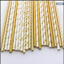 Paper Drinking Straws Metallic Foil Rose Gold/Silver Vintage Wedding Party Decor