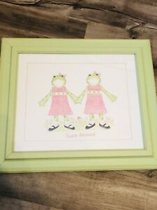"""Kelly B. Rightsell  Framed Lithograph Picture """"Twice Blessed"""" Twin Girls  Decor"""