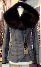 Luxus Designer Lammfelljacke mit echtem Toskana Fell mit KapuzeGr.38 NEU
