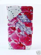 LG H502 magna Case Flip Etui Tasche Hülle Blumen Ring pink Strass