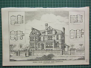 1877 DATED ARCHITECTURAL PRINT ~ DOUBLE HOUSE ARKWRIGHT RD HAMPSTEAD T. K. GREEN