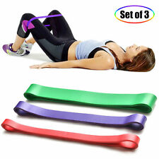 3x Resistance Loop Bands Set Crossfit Fitness Exercise Yoga Workout Pull Up Band