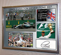 """Lewis Hamilton Silverstone 2017 Framed Canvas Print Signed """"Great Gift/Souvenir"""""""