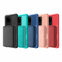 Zipper Wallet Pocket Leather Shockproof Case Cover For Samsung Galaxy Phone