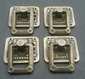 """4 Arts and Crafts Mission antique style brass ring pull handles ~1-1/4"""" #H29"""