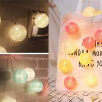 20 LED Globe Garland Cotton Ball String Fairy Lights Christmas decorate Plug-In