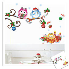 Colourful Christmas Owls Xmas sticker wall Decal Removable Window Wall Sticker