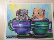 Kristine Kasheta - Open Edition Giclee Print ~ 2 Chinchillas in Tea Cups 11X8.5