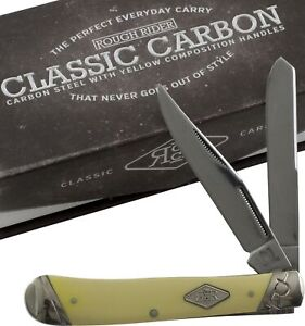 Rough Rider Yellow Smooth Carbon Steel Trapper Pocket Knife RR1731