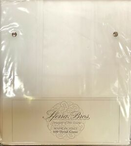 Sferra WHITE Queen Sheet Set 600TC Extra Long Staple Sateen&Percale Border,Italy