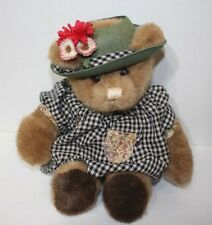 Vintage 1985 Gund Bear Tales Ms Teddy Black Checkered Gingham Dress & Hat 14""