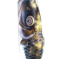 70cm goldene schwarze Windsack Kunstseide Flagge Koi Nobori Fisch Flagge