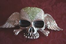 SKULL AND BONES BELT BUCKLE WITH FAUX STONES