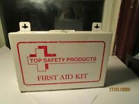 Vintage Top Safety First Aid Kit White Metal Box Medical for Wall with Contents