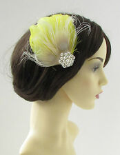 Yellow Cream Ivory Silver Peacock Feather Fascinator Hair Clip Bridal 1920s 23