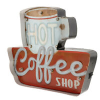 Coffee Retro Metal Tin Sign Posters LED Light Box Kitchen Cafe Bar Wall Art