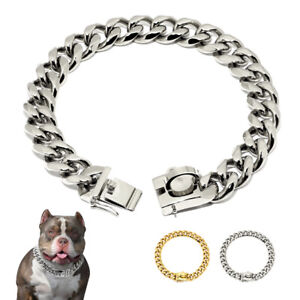Pet Dog Chain Collar 19mm Wide Stainless Steel Metal Choke Cuban Link Necklace