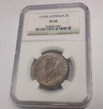 1918 M AUSTRALIA FLORIN 2 TWO SHILLINGS NGC XF40 XF 40 1918M Certified Coin