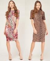 Ladies.Pink Animal-Brown Leopard Print.Round Neck.Midi Dress.Size 10-12-14-16-18
