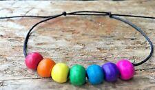 Cord Slider Ankle Bracelet Anklet Boho Hippie Handmade Rainbow Adjustable Black