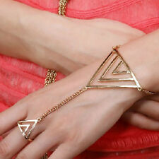 Polish gold triangle Slave Chain Hand Harness Bracelet Bangle Ring Goth Punk