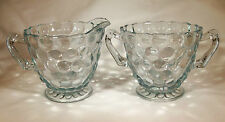 ANCHOR HOCKING GLASS CO. BUBBLE SAPPHIRE BLUE FOOTED CREAMER & SUGAR BOWL SET!