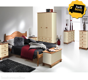 CREAM & PINE Bedroom Furniture Set Of Wardrobes, Chest of Drawers, Bedside Table