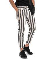Pantalone Rigato Uomo Righe Bicolore Nero Tasca America Lino Casual GIOSAL