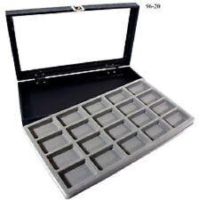 Glass Top 20 Lighter gray zippo Collectors Display Case