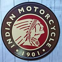 Indian Motorcycle Metal Tin Ad Sign Picture Garage Repair Bike Shop Gift Decor